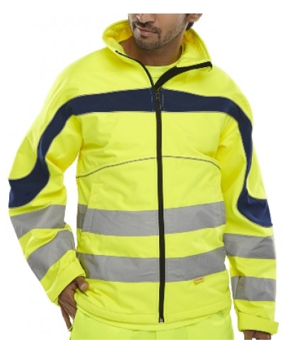 Hi Vis Soft Shell Eton Jacket Yellow