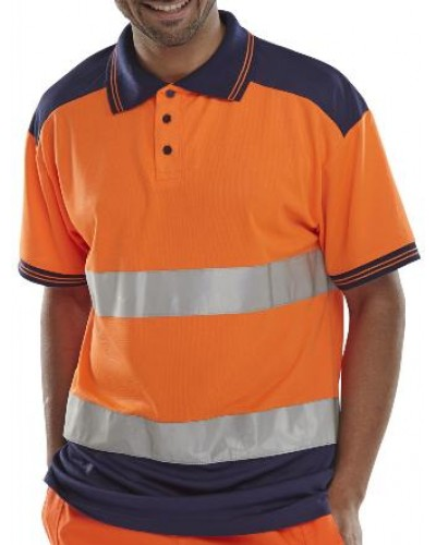 Hi Vis Polo Shirt Orange/Navy