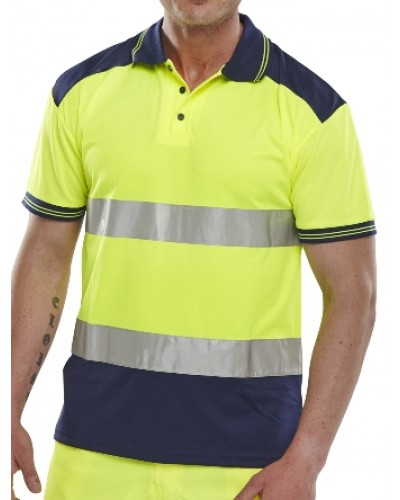 Hi Vis Polo Shirt Yellow/Navy