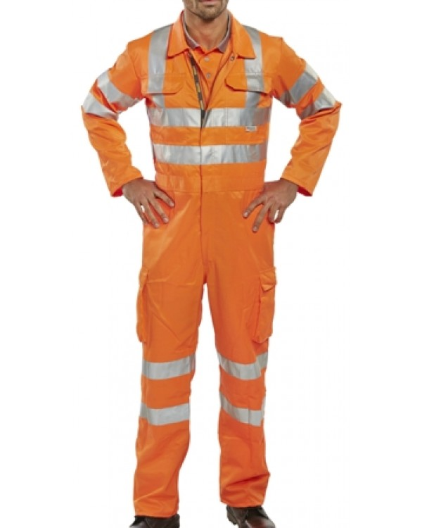 Boilersuit Hi Vis Rail Spec 50,82 Overalls BRSCC bcm safety