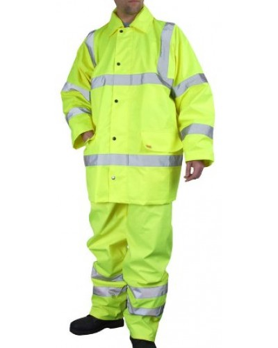 Waterproof Lightweight Hi Vis Suit Yellow