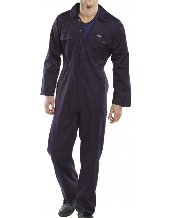 Boilersuit Standard Stud only Navy 21,18 Overalls BRPCBSNC bcm safety